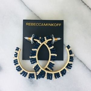 NEW Rebecca Minkoff Beaded Feinstein Hoop Earrings
